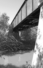 Union-Pacific Railroad over Tres Palacios River, Blessing, Texas 1410251135bw