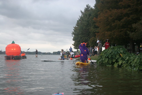 Pumpkin Paddle Parade about to depart.