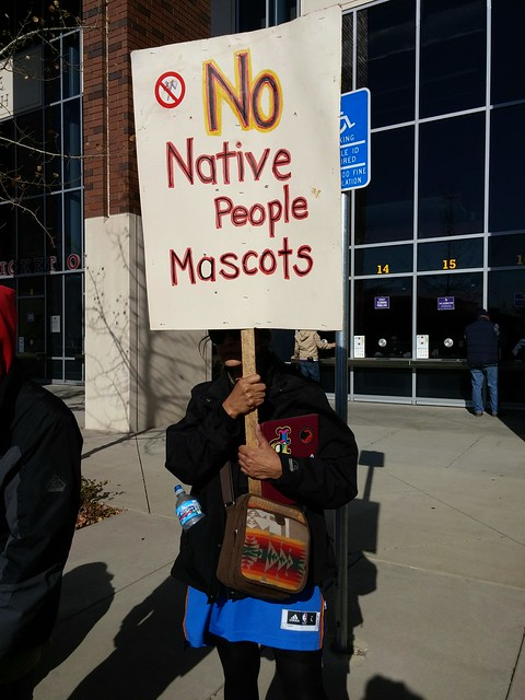 Protest against Washington football team name at TCF Stadium from Flickr via Wylio
