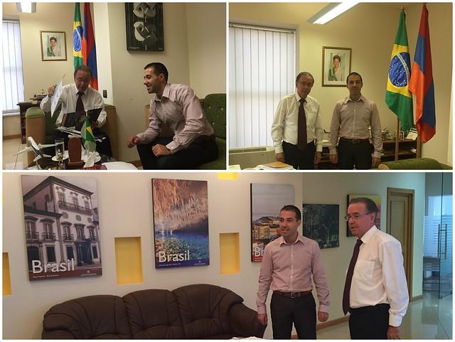 Dr. Artak Barseghyan with Ambassador of Brazil H.E. Mr. Edson Marinho Duarte Monteiro at Embassy of Brazil.