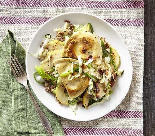 pierogies-with-sausage-cabbage-pear-recipe
