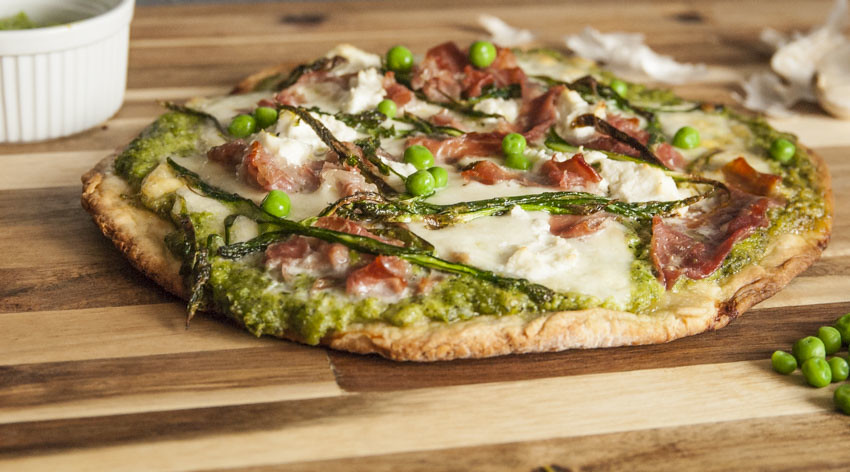 Pea and Mint Pizza