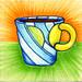 I drew you a sun & ocean mug of coffee