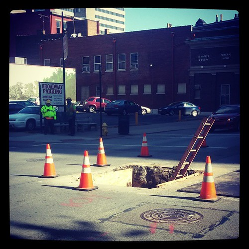 Imagine that, another deep hole in a Cincinnati street. This one is at Race & 9th Streets...