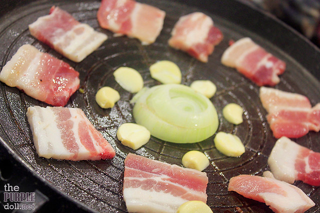 Grilling samgyeopsal at Leann's Tea House