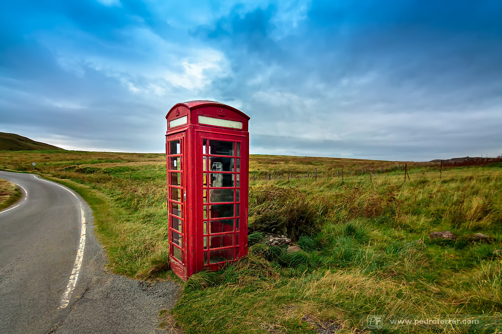 The lonely phone box, in the middle of nowhere.