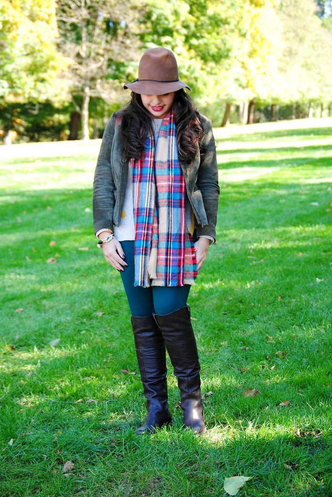 preppy fall outfit | plaid blanket scarf | floppy wool felt hat