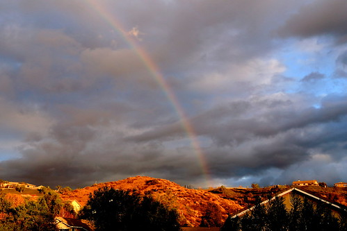 sky rooftop rain clouds rainbow afternoon cloudy hills santaclarita bessknight projectweather knightimecreationsbybess