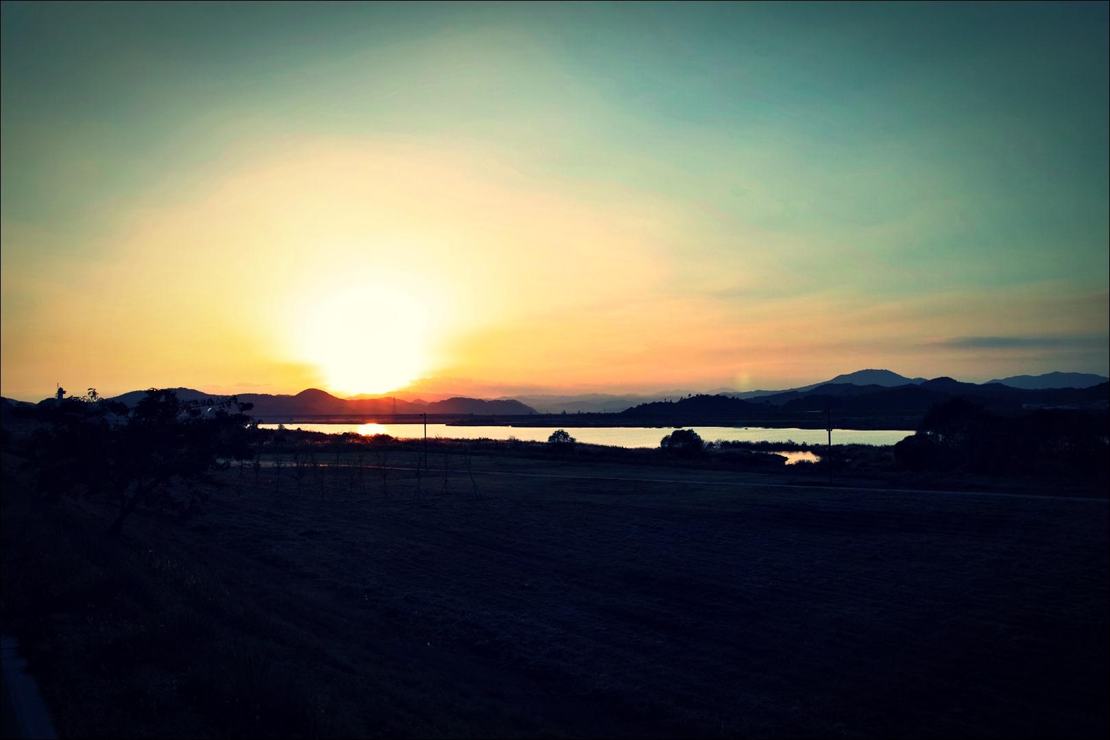 석양-'금강 자전거 캠핑 종주'