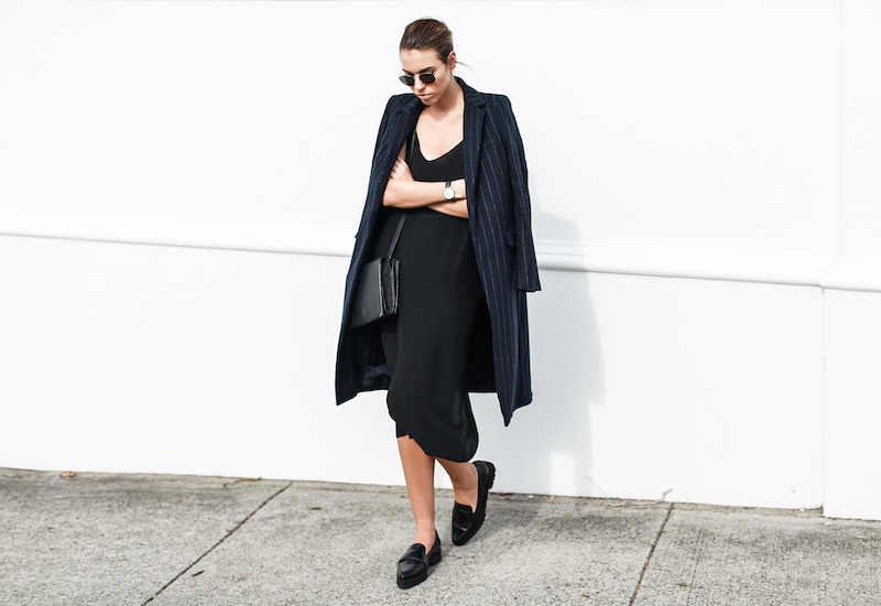 modern legacy fashion blog Australia pinstripe Zara coat street style Topshop cami silk slip dress Senso navy loafers Alexander Wang Envelope Prisma bag (9 of 10)