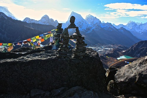 Looking across the Gokyo lakes and Ngozumba Glacier at the top of Gokyo Ri