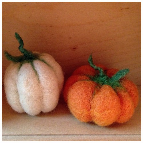 Needle felted punkins! (Mine is the orange one, @nanaloodee did the white one.)