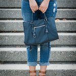 zara navy zipper detail satchel
