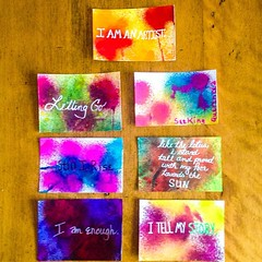 """Affirmations, lesson 1.3. To clarify, the one with the hot pink lettering around the edges says """"seeking querencia,"""" which is the name of my blog. #bloomtrue"""