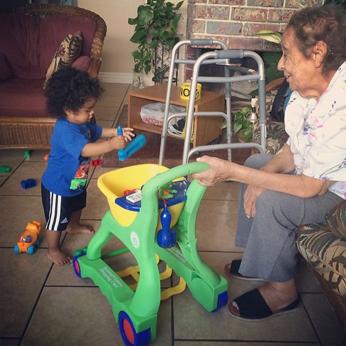 Mamá Toni's health has been rapidly declining over the last few months. In August she was still moving around with her walker (which Xavi loved) and watching Xavi play. She hasn't been out of bed in 3 days, but is still greeting family members who come to