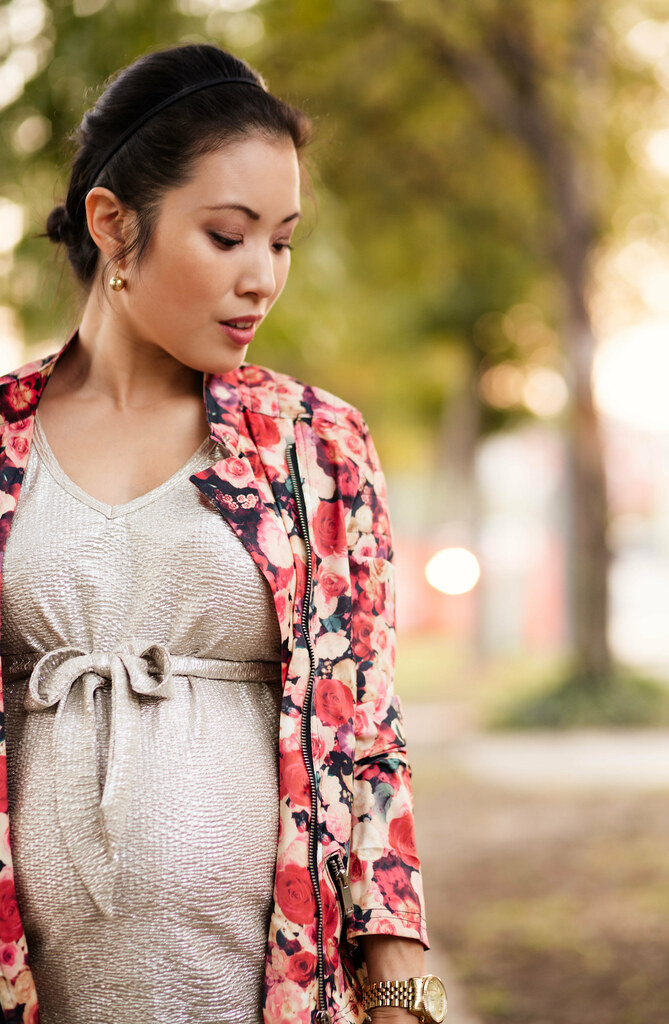 cute & little blog | petite fashion | maternity baby bump pregnancy | choies floral moto jacket, gold foil maternity top, leather ponte pants | second trimester 26 weeks