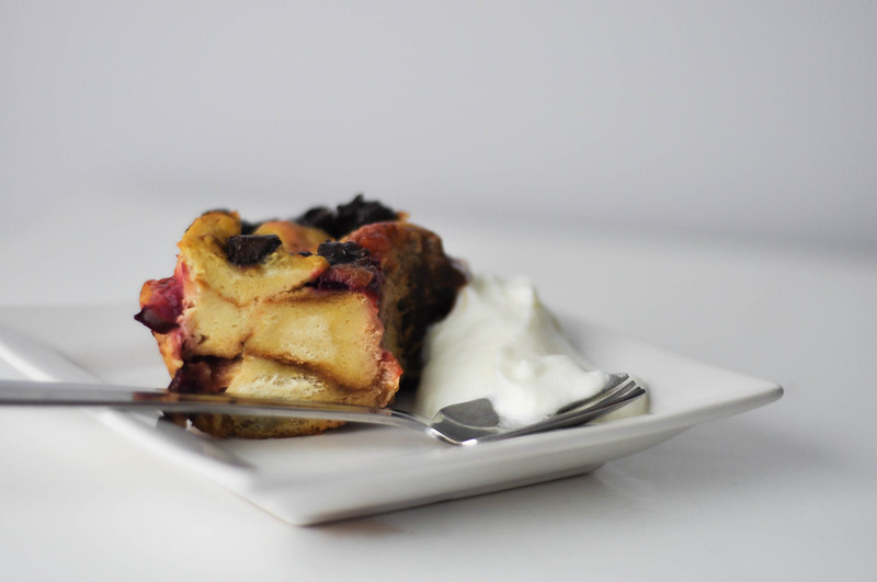 baked plum bread and butter pudding