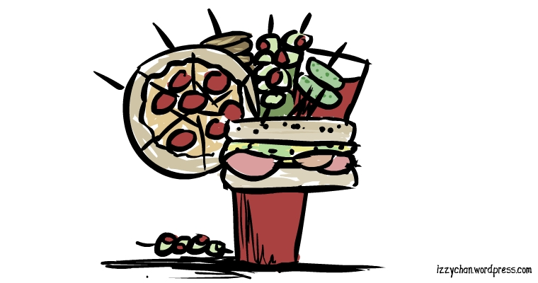 bloody mary drink pizza sub olives fried chicken pickles onion rings
