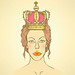 lily.kavliuk posted a photo:	Sketch cute woman  in crown,  vector vintage background