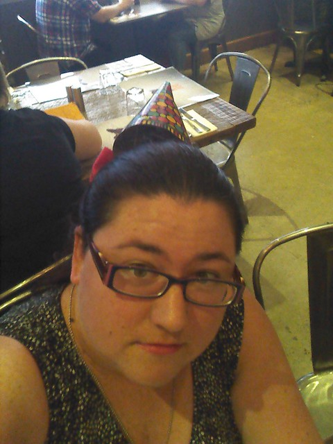 Skeptical in a party hat