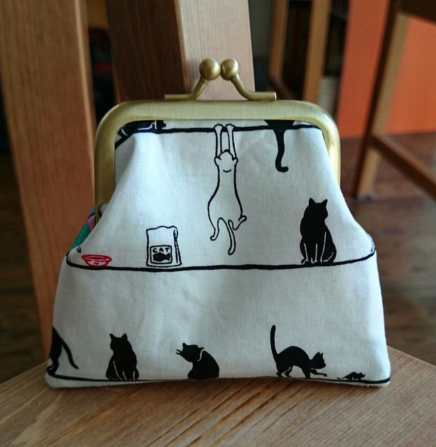 Cat Side of the Rainbow Ribbon Metal Frame Purse