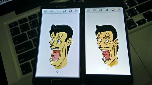 การวาดรูปบน Galaxy Note 4 (ซ้าย) ทำได้ง่าย และดูสวยกว่า iPhone 6 Plus (ขวา) ด้วยความพยายามและระยะเวลาพอๆ กัน