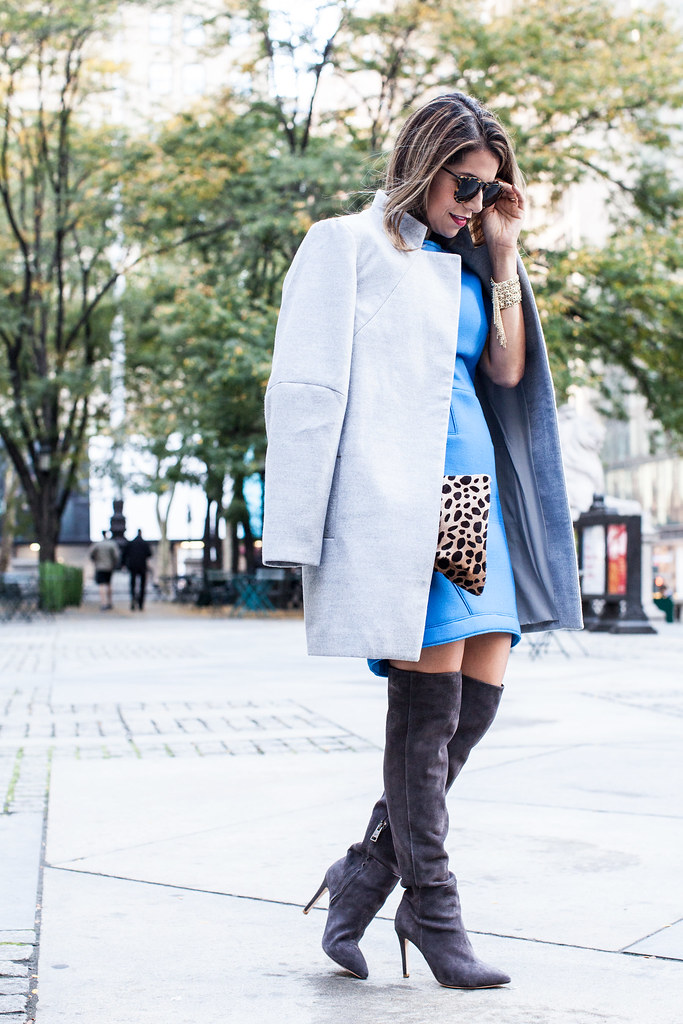 Over the Knee Boots oversized grey coat tibi dress olivia boots what to wear in the fall fall outfits new york fashion blogger karen walker harvest sunlgasses piperlime coat joie olivia suede grey boots kendra scott