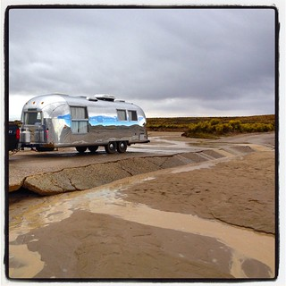 Some distance later, a section of the road that had partially washed out within the past month. Fortunately, no rushing water at our passing. #airstreamdc2cali #airstream #vintageairstream