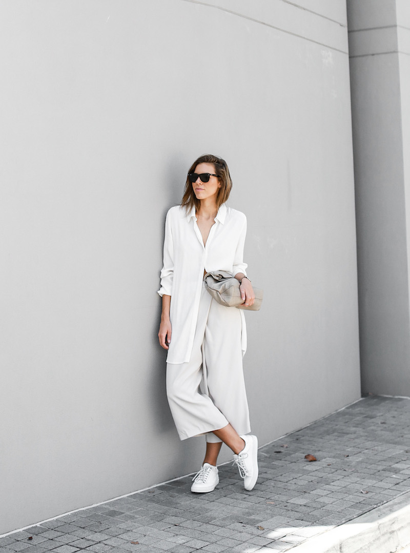 modern legacy fashion blog Australia street style neutrals BC Saba culottes Mode Collective Lunchy leather clutch white leather trainers (5 of 7)