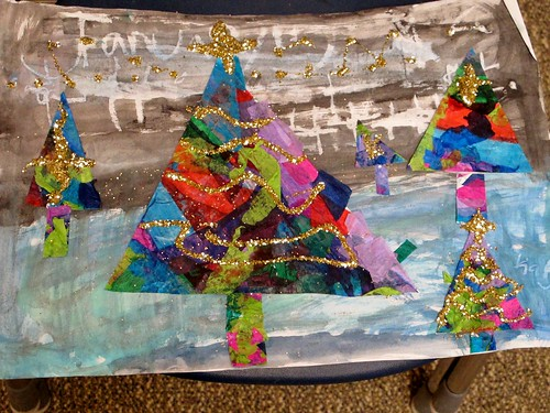 Tissue Paper Tree Winter Landscape