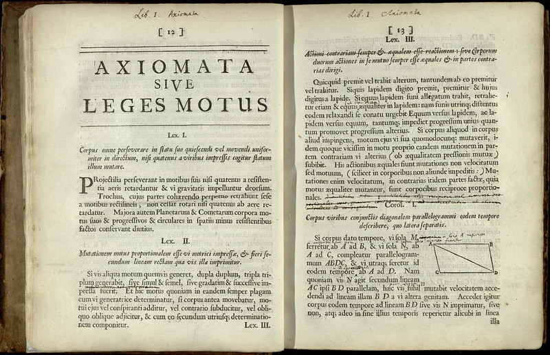 Pages from the Principia Newton`s own copy of the first edition stating laws of motion