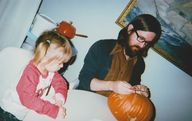 Elise and Eric pumpkin carving