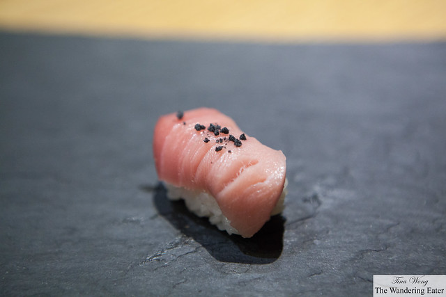 Chu toro with charred bamboo salt