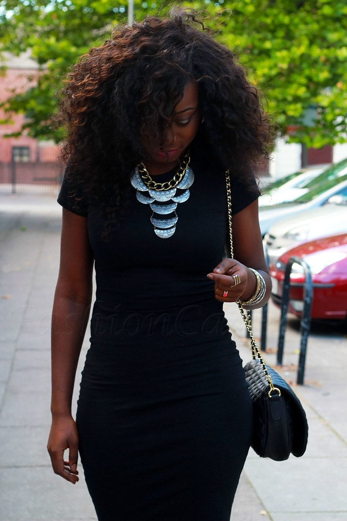 Little Black Dress Lbd With Statement Necklace Metallic Blue