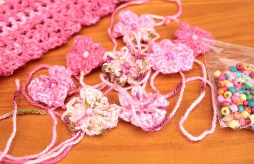 Pink crochet flowers