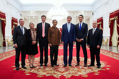U.S. Secretary of State John Kerry and President Joko Widodo of Indonesia stand with the delegation President Obama sent to the newly installed leader's inauguration, including Scot Marciel, Principal Deputy Assistant Secretary of State for East Asian and Pacific Affairs and former U.S. Ambassador to Indonesia; Carolyn Hessler-Radelet, Director of the Peace Corps; Robert O. Blake, U.S. Ambassador to Indonesia; Mohamed Abdel-Kader, Deputy Assistant Secretary of Education for International and Foreign Language Education; and Daniel Russel, Assistant Secretary of State for East Asian and Pacific Affairs; after they came to the Presidential Palace in Jakarta for a bilateral meeting on October 20, 2014. [State Department photo/ Public Domain]