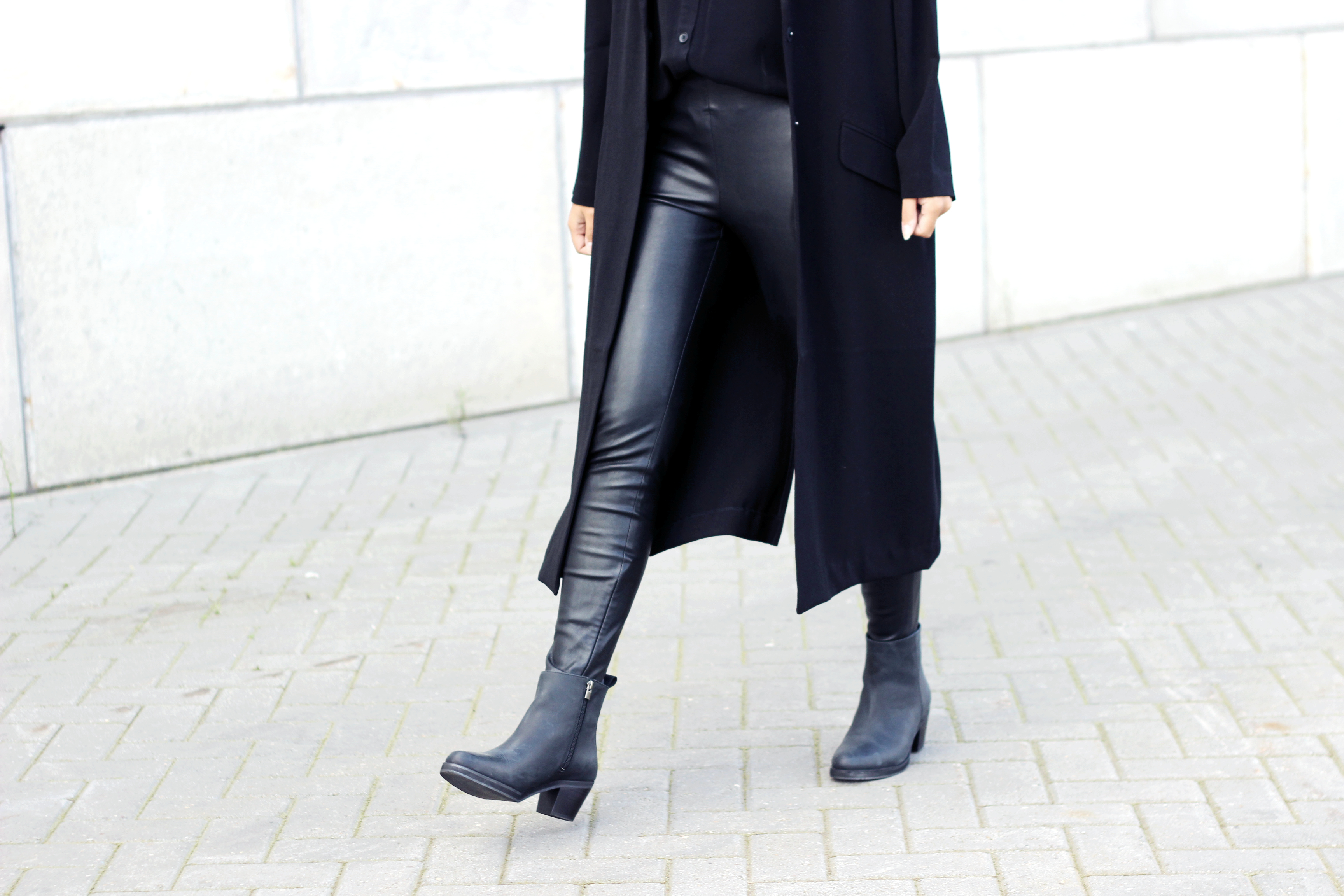 Acne pistol boots inspired black leather pants duster coat