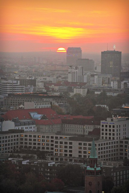 Sunset over Berlin, viewed from Panoramapunkt