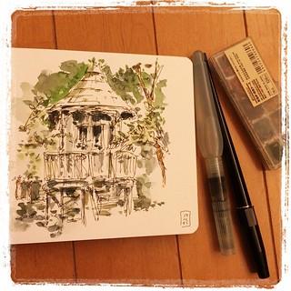 #japon #urbansketch #moleskine #carbon #platinum #watercolor #tokyo