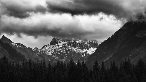 landscape blackandwhite pacificnorthwest clouds trees outdoors scenic snoqualmiepass canoneos5dmarkiii canon135mmf2lusm nature scenery mountains johnwestrock monochrome washington
