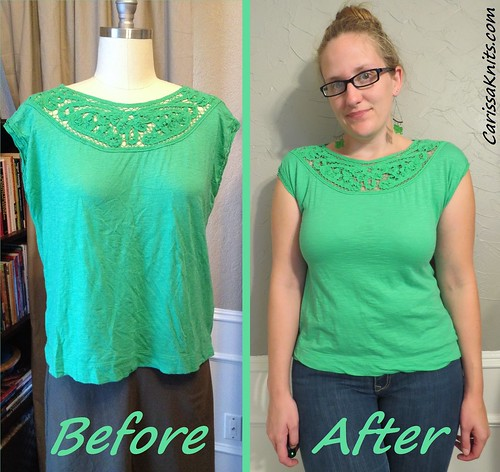 Green Yoked Tee - Before & After