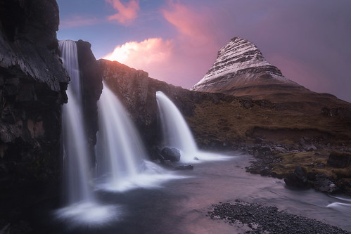 waterfall three kirkjufell iceland winter february cold mountain sunset water motion flow wet clouds foss