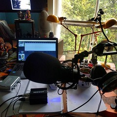Cables and coffee and new phantom power supply. Audio, painting, writing desk finally kinda set up again. A happy mess.