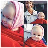 #InstaSize #vscocam - my little babushka (mama forget his hat and his little ears needed protection from the wind) on a walk with his Aunt Wendy @wleeramsey