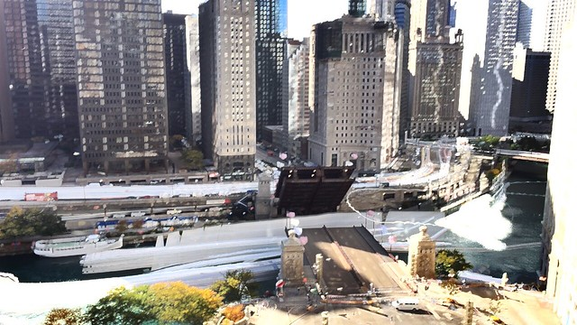 Time lapse of sailboats passing under Michigan Ave bridge in Chicago