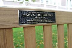 Bench honoring Haig Bosmajian