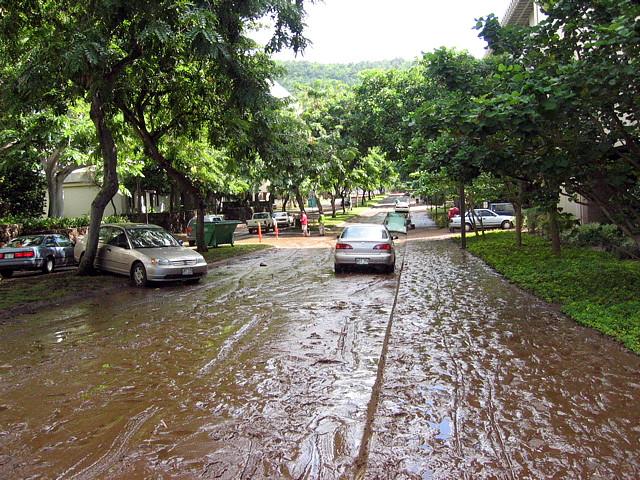 <p>Oct. 30, 2004—Swollen by heavy rain, Mānoa Stream overflowed its banks and raced through the University of Hawaiʻi at Mānoa campus.</p>