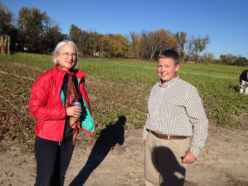 Deputy Under Secretary Ann Mills and Adlai Schetter in front of a test plot. NRCS photo