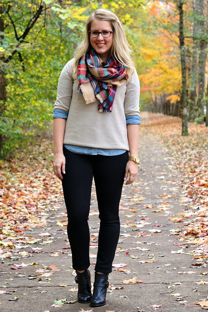 chambray layered with black jeans and booties
