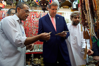 Secretary Kerry Pays for Purchases During Visit to Muttrah Souk in Oman